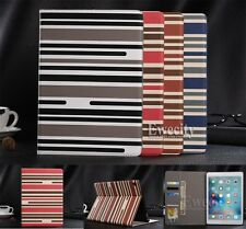 Folio Bicolor Stripe Wallet Leather Stand Auto Smart Case Cover For Apple iPad