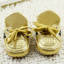 Toddler Baby Girl Gold Sneakers Soft Sole Crib Shoes Size 0-6 6-12 12-18 Months