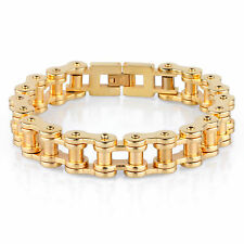 Stainless Steel 18K gold plated bicycl Chain Link MENS BOYS COOL Bracelet 5 SIZE