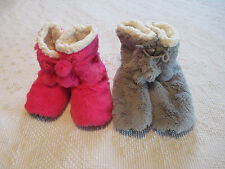 Women's Fuzzy Bootie Slippers Pink, Gray, Black Size S or M