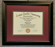 DIPLOMA Certificate matte BLACK  Wood Honors Frame DOUBLE Matted OG red mat