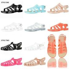 Womens Ladies Summer beach Jelly Sandals Girls Flat Gladiator jellies Shoes Size
