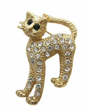 Gold Crystal Cat Brooch / Kitty Cat / Mothers Day Gift / New  #693