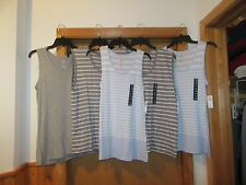 GAP Sleeveless Tee Blouses XL,L,S, Gray Blue striped ,Gray Striped NWT