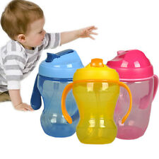Cute 260ml Baby Cup Infant Learn Drinking Straw Handle Bottle Sippy Cup BPA Free