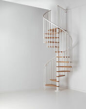 Arke Fontanot OAK 70 Spiral Staircase in White with Light Solid Oak Treads