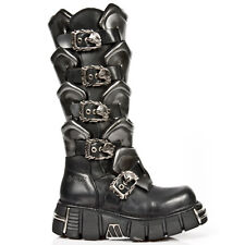 M.738-S1 NEWROCK EXTREME BLACK LEATHER KNEE HIGH BOOTS WITH ARMOUR EFFECT DETAIL