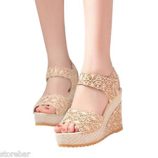 Fashion Womens High Heel Wedge Platform Sandals Ankle Lace Strap Shoes 2Colors