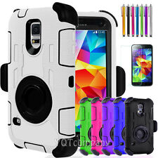 Heavy Duty Rugged Armor Hard Case Cover &Belt Clip Holster For Samsung Galaxy S5
