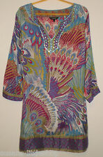 Funky Pattern Multi Colours Kaftan Holiday Beach cover up Tunic Dress, Size 12