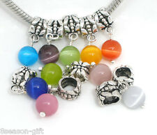 Gift Wholesale Cat's Eye GlassDangle Bead Fit Charm Bracelet
