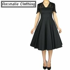 Chic Star Black 1940s Full Dress with Lace - 1950s Vintage Retro Rockabilly Goth