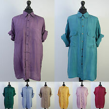 90s Silk Shirt Vintage Unisex Range of Colours Oversized S M L XL