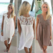 BOHO Ladies Sleeveless Party Tops Womens Loose Summer Beach Lace Dress AU 6-20