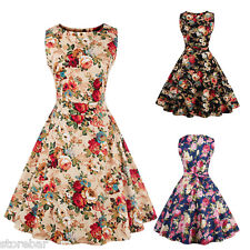 ZAFUL LADIES 1940'S 1950'S VINTAGE STYLE RETRO FLORAL PRINT FLARED TEA DRESS NEW