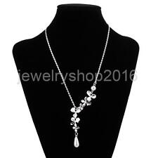 Orchid Pendant Chain Necklace with Pearl Drop Simple Elegant Jewelry for Bride