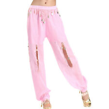 New Sexy Belly Dance Chiffon Coins Led Open Pants Dancing Tribal Lantern Costume