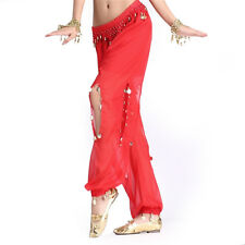 Fashion Belly Dance Chiffon Coins Led Open Pants Dancing Tribal Lantern Costume