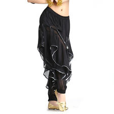 For Belly Dance Chiffon Silver Trim Rotation Pants Dancing Tribal Harem Costume