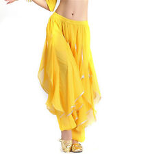 Sale Belly Dance Chiffon Silver Trim Rotation Pants Dancing Tribal Harem Costume