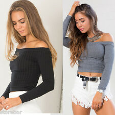 New Womens Crop Tops Off Shoulder Fitted Stretchy Sexy Blouses Tee Fashion Tops