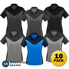 10 x Ladies Victory Polo Shirt Womens Sport Work Top Fluoro Size 8-24 New P606LS