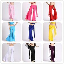 New Belly Dance Latin Yoga Sripe Tassels Pants Dancing Tribal Crystal Cotton