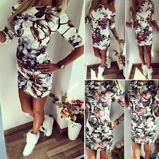 Women Half Sleeve Floral Bodycon Bandage Party Evening Summer Mini Tunic Dress