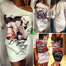 Women Floral Off Shoulder Evening Party Bodycon Mini Dress Summer Beach Clubwear
