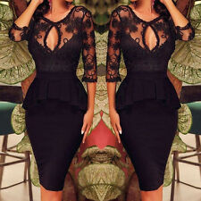 Black Womens Lace Bodycon 3/4 Sleeve Wiggle Pencil Evening Party Cocktail Dress