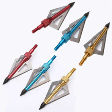 6 pcs Archery Hunting Broadheads 100 Grain 3 Blade Broad Screw Tips Arrow Heads