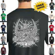 Biker Classic Motorcycle Custom Chopper Skull Ride To Live New Mens T Shirt