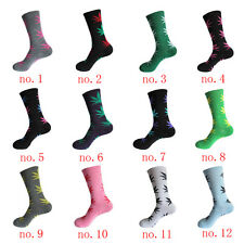 Unisex Street Fashion Pink+Red Hemp  Marijuana Weed Leaf Crew High Dress Socks