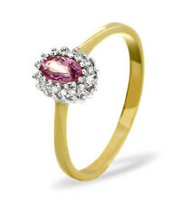 9K Gold 0.05ctw Diamond & Pink Sapphire Cluster Ring Sizes F-Z Made in London