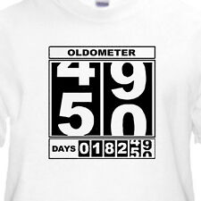 "50th BIRTHDAY T-Shirt ""OLDOMETER"" WHITE Tee -50 Year Old BIRTHDAY FUNNY TEE"