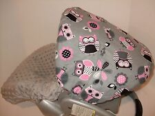 CUTIE OWLS/MINKY INFANT CAR SEAT SLIP COVER Graco fit-custom sizes available