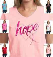 Breast Cancer Awareness Rhinestone Heart & Ribbon Glitter Hope Womens T-Shirt