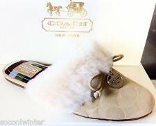 New in box Coach CARRA Women Suede Shearling Slippers Shoes Flats Sand Beige CC