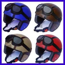 Open Face Motorcycle Scooter Retro Helmet with Vintage Google. S/M/L-NEW