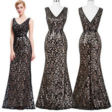 New Formal Evening Party Long Gown Sleeveless Sequin Applique Maxi Dress Pageant