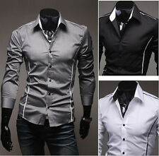 New Mens Luxury Slim Fit Stylish Dress Shirts 3 Color 4 Size US SELLER