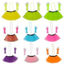 1980's Neon UV Tutu Skirt Ballet Dance Fancy Dress Prom Stage Party Costume Set