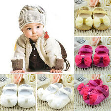 Baby Toddler Girls Kids Shiny Bowknot Prewalker Crib Shoes Prom Trainers 0-18M