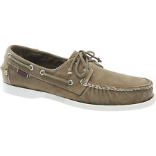 Sebago DOCKSIDES Mens Dark Taupe Canvas Lace Up Comfort Casual Dock Boat Shoes