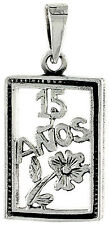 """.925 Sterling Silver Quinceanera Sweet 15 Anos Frame Word Pendant 18"""" Box Chain"""