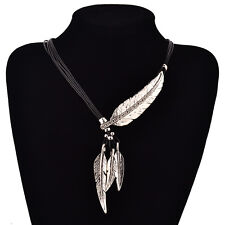 Women Bohemian Style Leather Rope Chain Feather Pendant Charm Choker Necklace