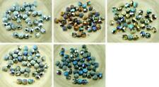 40pcs NEW FINISH Glittery Rainbow Half Matte Czech Glass Round Faceted Fire Poli