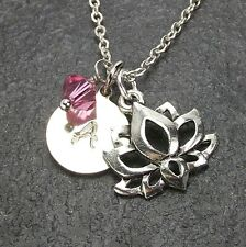 Personalized Lotus Necklace Custom Yoga Name Initial made by Swarovski Crystal