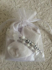 NEW BABY GIFT SET - BIB SOCKS AND CHARM - MITTENS WHITE BLUE PINK