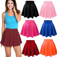 Fashion Women Cotton Stretch High Waist Plain Skater Flared Pleated Skirt Dress